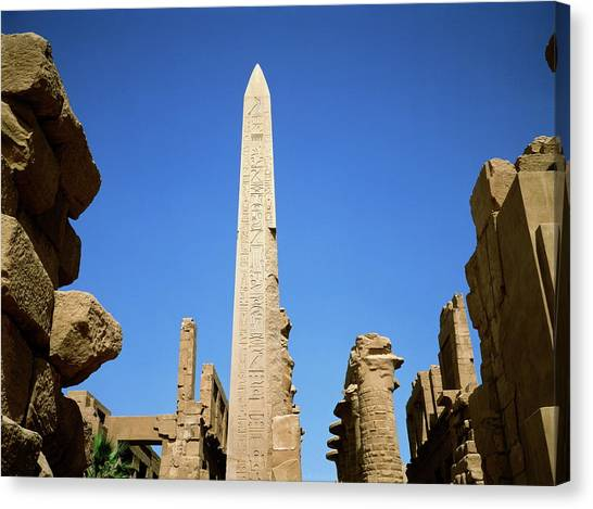 Ancient Egyptian Obelisk At Karnak Canvas Print by Robert Brook/science Photo Library