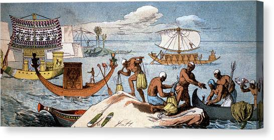 Egyptian Art Canvas Print - Ancient Egyptian Ships by Cci Archives/science Photo Library
