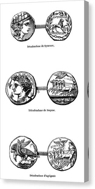Hellenistic Art Canvas Print - Ancient Greek Coins by Science Photo Library