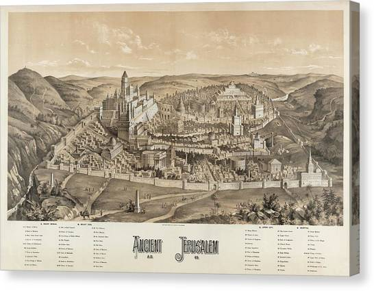Ancient Jerusalem Canvas Print by Library Of Congress/science Photo Library