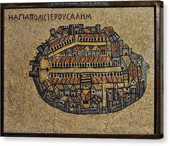 Ancient Jerusalem Mosaic Map Color Framed Canvas Print
