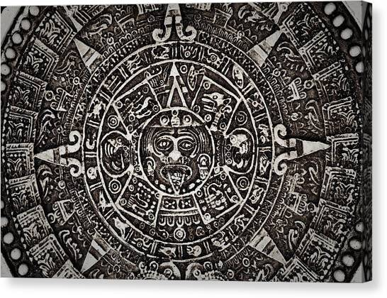 Aztec Sun God Canvas Print