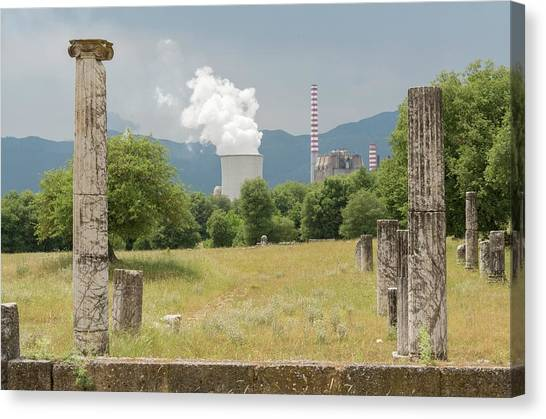 Ancient Megalopolis And Coal Powerplant. Canvas Print by David Parker/science Photo Library