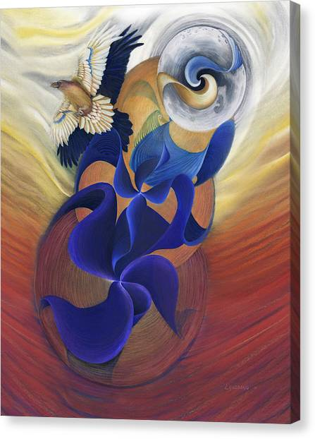 Raven Canvas Print - Ancient Raven Reborn by Robin Aisha Landsong