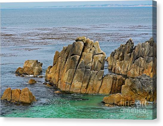 Ancient Rocks At Pacific Grove Canvas Print