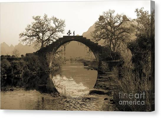 Rural Bridge Canvas Print - Ancient Stone Bridge by King Wu