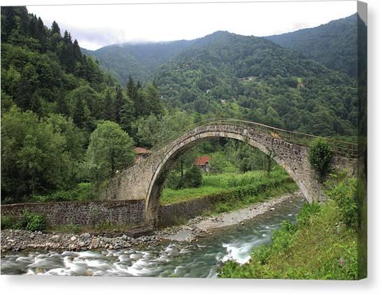 Bagpipes Canvas Print - Ancient Stone Bridge by Petekarici