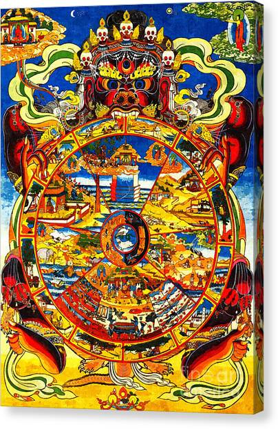 Ancient Tibetan Tangka Wheel Of Life Canvas Print