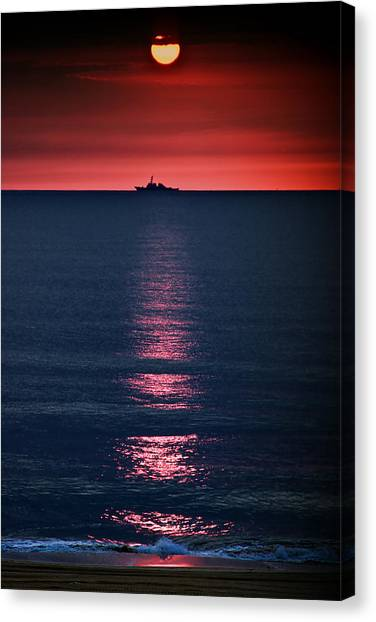 Sunset Horizon Canvas Print - And All The Ships At Sea by Tom Mc Nemar