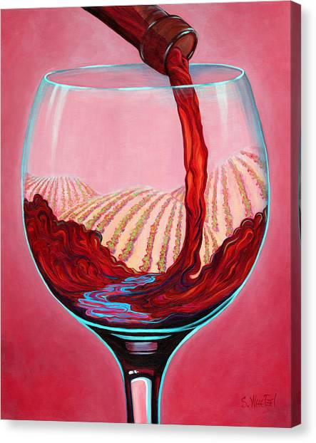 Canvas Print featuring the painting ...and Let There Be Wine by Sandi Whetzel