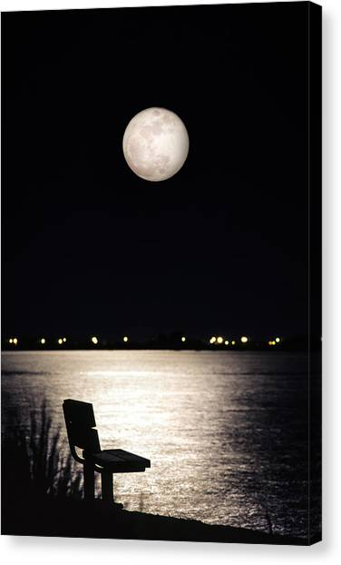 And No One Was There - To See The Full Moon Over The Bay Canvas Print