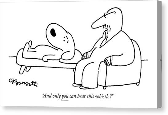 Psychology Canvas Print - And Only You Can Hear This Whistle? by Charles Barsotti