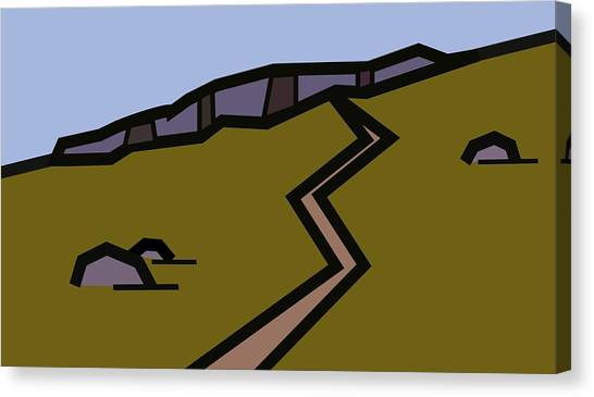 And The Path Rises Steeply To The Crag Canvas Print by Kenneth North