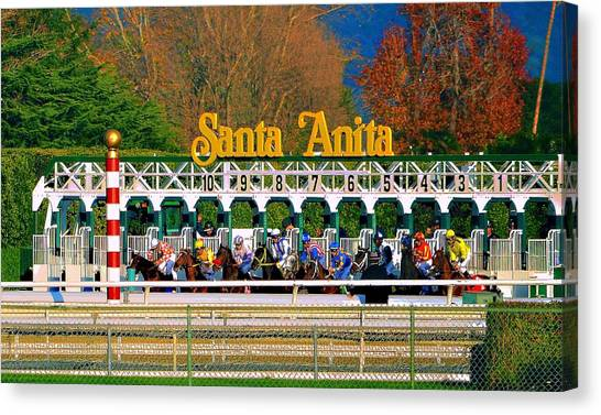 And They're Off At Santa Anita Canvas Print