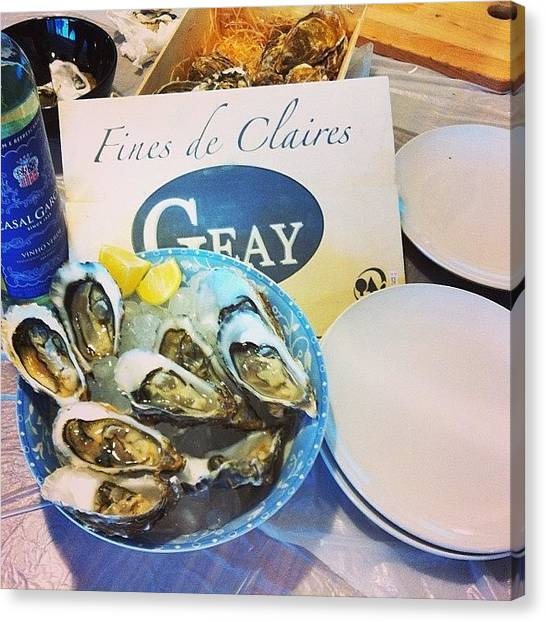 Oysters Canvas Print - And Two Dozens Of Fine De Claire! by TC Li