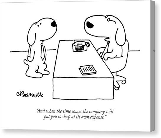 Health Care Canvas Print - And When The Time Comes The Company Will Put by Charles Barsotti