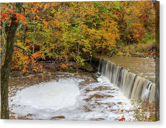 Indiana Autumn Canvas Print - Anderson Falls On Fall Fork Of Clifty by Chuck Haney