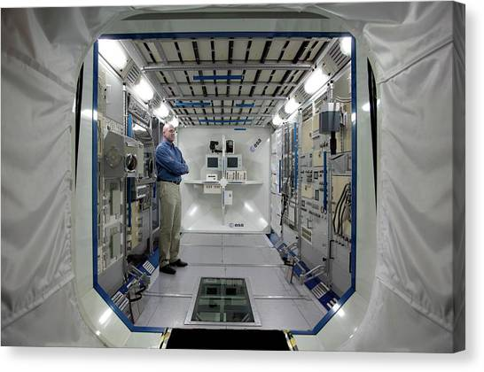 Astronauts Canvas Print - Andre Kuipers And Iss Colombus Simulator by Detlev Van Ravenswaay