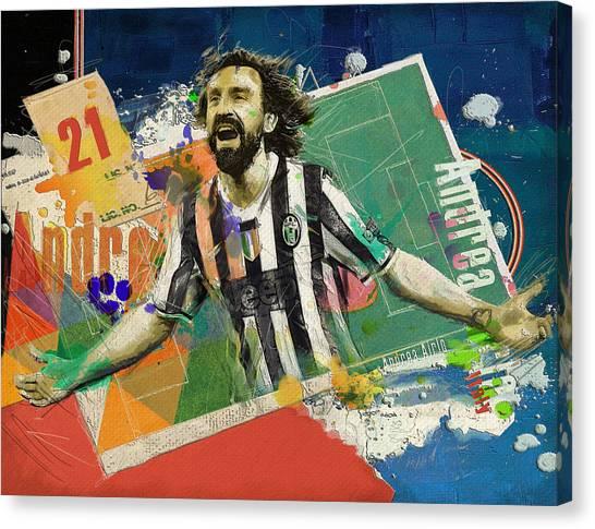 Premier League Canvas Print - Andrea Pirlo by Corporate Art Task Force
