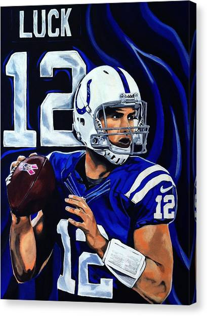 Drew Brees Canvas Print - Andrew Luck by Chris Eckley