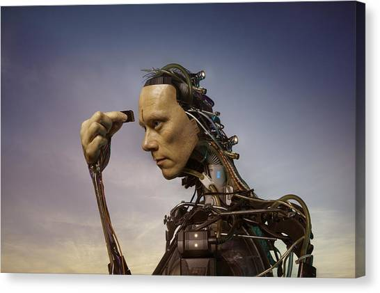 Android Robot Replacing Memory Card Canvas Print by Peter Sherrard