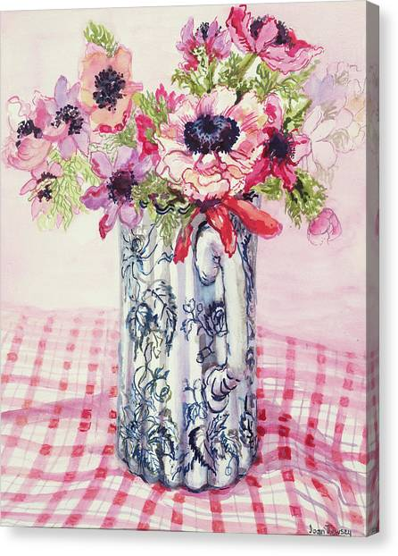 In Bloom Canvas Print - Anemones In A Victorian Flowered Jug by Joan Thewsey