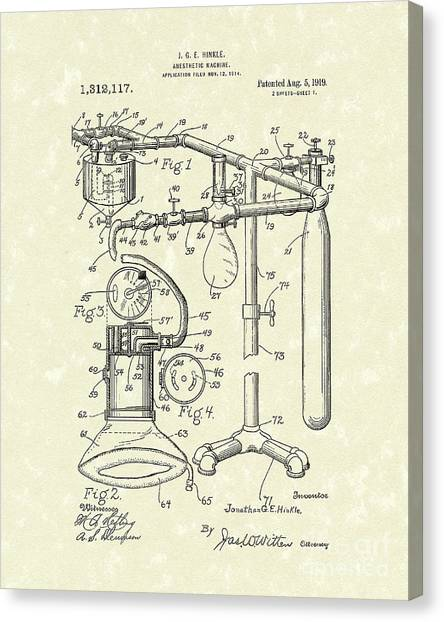 Anesthetic Machine 1919 Patent Art Canvas Print