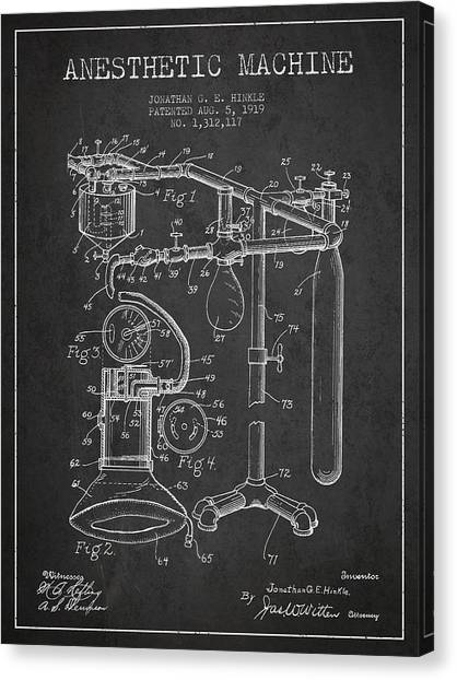 Technical Canvas Print - Anesthetic Machine Patent From 1919 - Dark by Aged Pixel