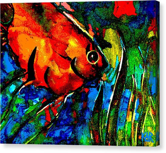 Tropical Stain Glass Canvas Print - Angel by Art by Kar