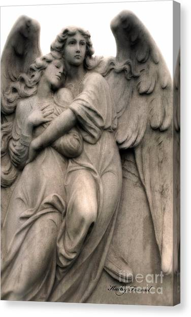 Angel Art By Kathy Fornal Canvas Print - Angel Photography Guardian Angels Loving Embrace by Kathy Fornal
