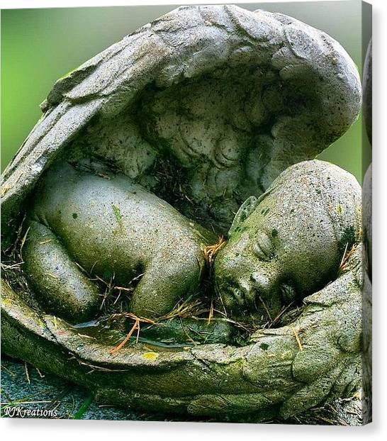 Baby Canvas Print - #angel #cherub #baby #cemetery #hdr by Roberta Weinmann