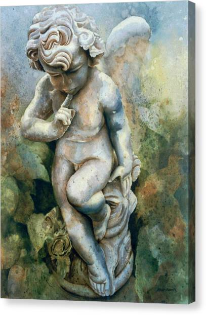 Angel-cherub Canvas Print by Eve Riser Roberts