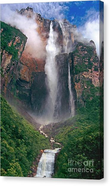 Canvas Print featuring the photograph Angel Falls In Venezuela by Dave Welling