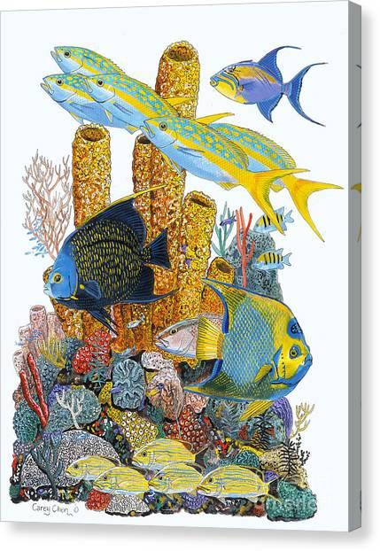 Atlantis Canvas Print - Angel Fish Reef by Carey Chen