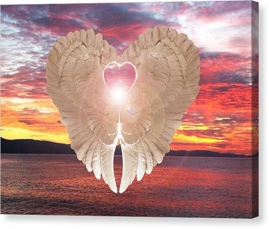 Canvas Print featuring the digital art Angel Heart At Sunset by Eric Kempson