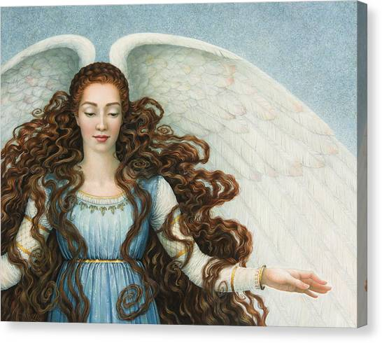 Angel In A Blue Dress Canvas Print