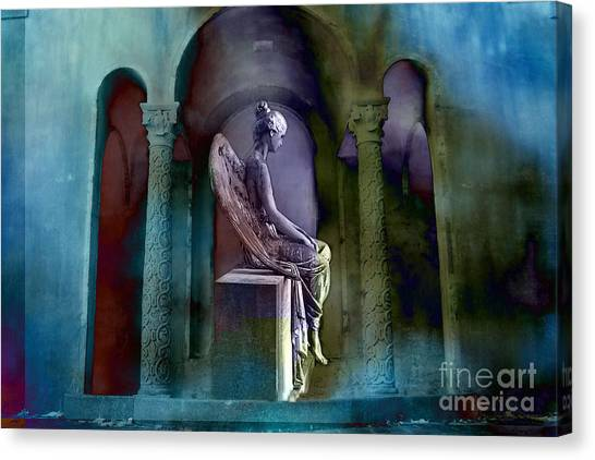 Angel Mourning Sadness - Haunting Fantasy Surreal Angel Art Teal Aqua Purple  Canvas Print by Kathy Fornal
