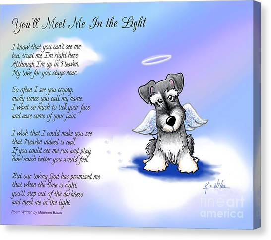 Angel Schnauzer With Poem Canvas Print by Kim Niles