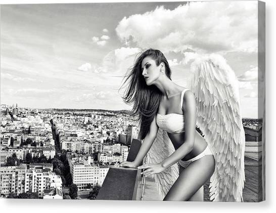 Rooftop Canvas Print - Angel by Stefan Amer
