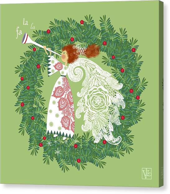 Angel With Christmas Wreath Canvas Print