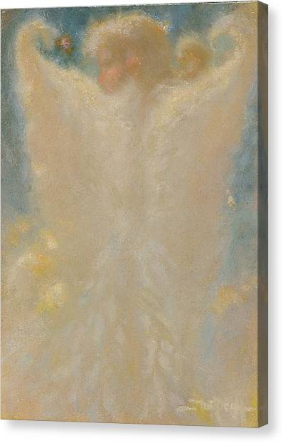 Angel With Wings From Behind Canvas Print by John Murdoch