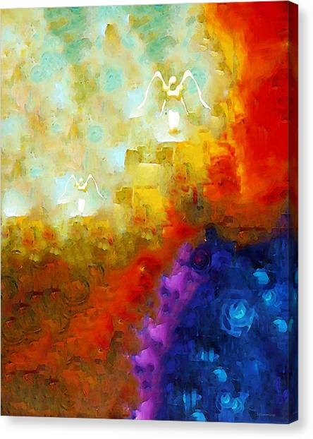 Primary Canvas Print - Angels Among Us - Emotive Spiritual Healing Art by Sharon Cummings