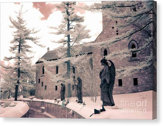Angel Art By Kathy Fornal Canvas Print - Angels And Religious Statues Winter Churchyard - Angel Statues With Jesus Churchyard Winter Scene by Kathy Fornal
