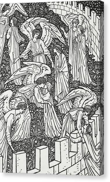 Border Wall Canvas Print - Angels Behind The Inner Sanctuary by William Morris