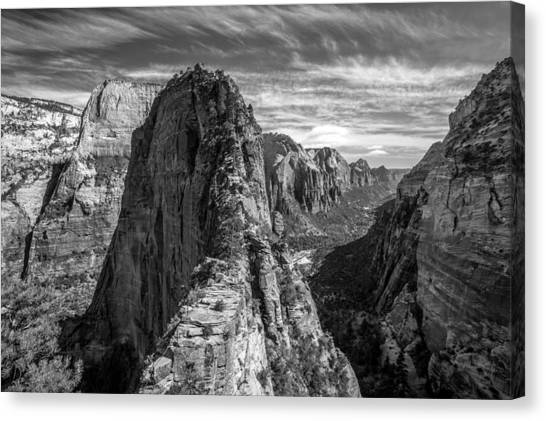 Angel's Landing In Black And White Canvas Print