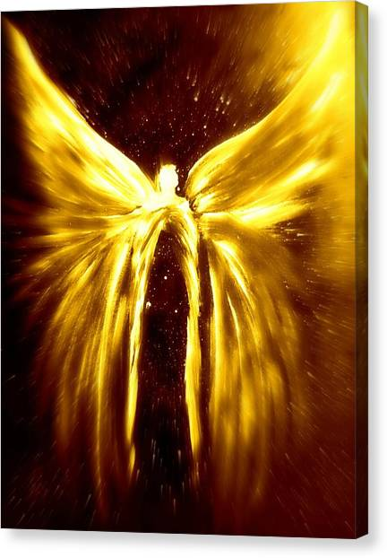 Angels Of The Golden Light Anscension Canvas Print