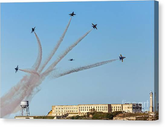 Canvas Print featuring the photograph Angels Over Alcatraz by Kate Brown