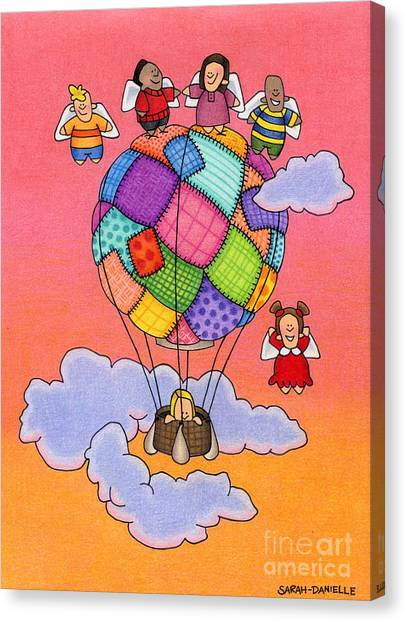 Hot Air Balloon Canvas Print - Angels With Hot Air Balloon by Sarah Batalka