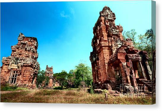 Canvas Print featuring the photograph Angkor Wat Ruins by Julian Cook