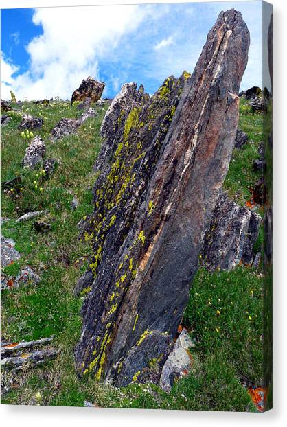 Angled Rocks With Lichen Canvas Print